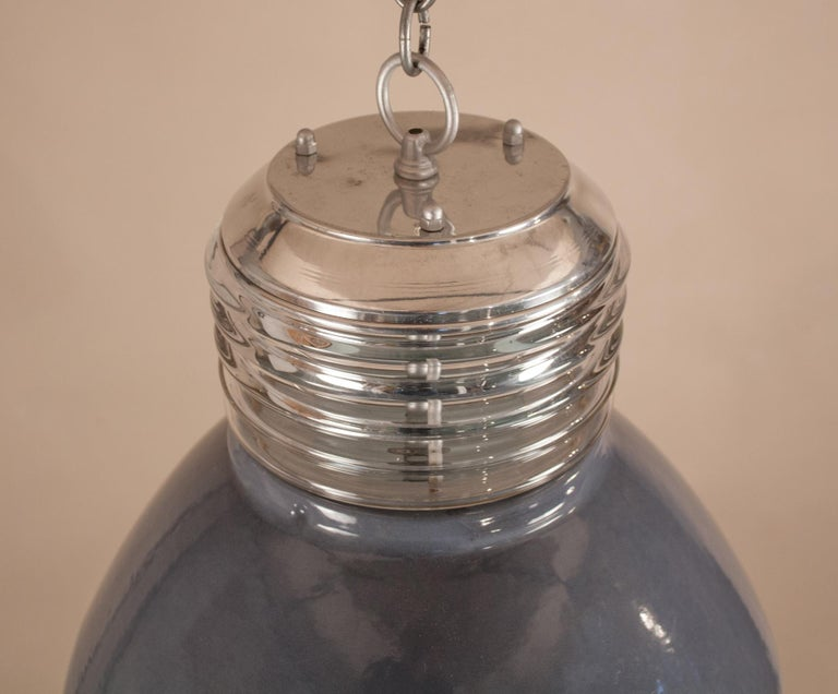 Pair of Vintage Gray Enamel and Glass Industrial Pendant Lights For Sale 4