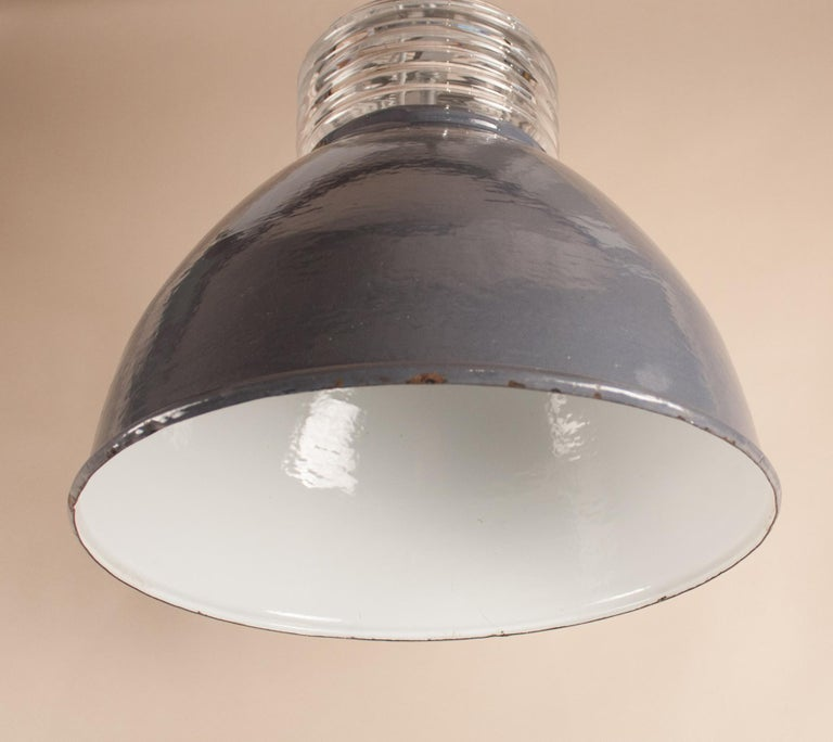Pair of Vintage Gray Enamel and Glass Industrial Pendant Lights For Sale 5