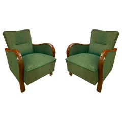 Pair of Vintage Green Armchairs