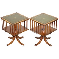 Pair of Vintage Green Leather Topped Mahogany Revolving Bookcases Side Tables