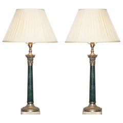 Pair of Vintage Green Marble Silver Plated Large Corinthian Pillared Table Lamps