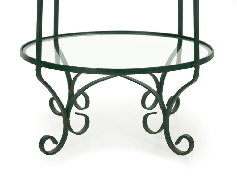 Pair of Vintage Green Painted Iron Etageres Displays with Glass Shelves For Sale 6