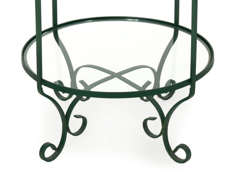 Pair of Vintage Green Painted Iron Etageres Displays with Glass Shelves For Sale 7