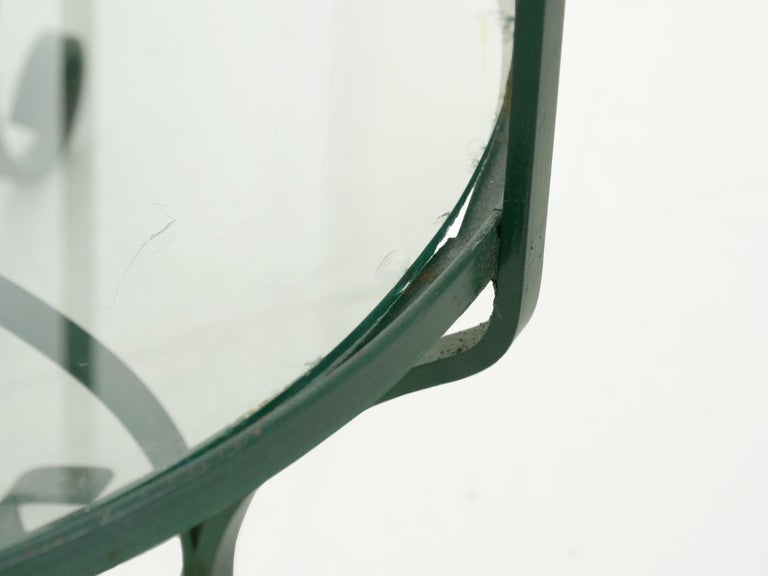 Pair of Vintage Green Painted Iron Etageres Displays with Glass Shelves For Sale 8