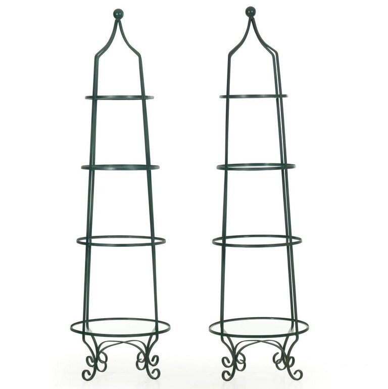 Pair of Vintage Green Painted Iron Etageres Displays with Glass Shelves In Good Condition For Sale In Shippensburg, PA