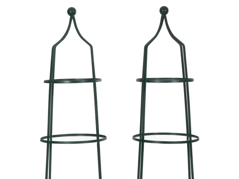 20th Century Pair of Vintage Green Painted Iron Etageres Displays with Glass Shelves For Sale