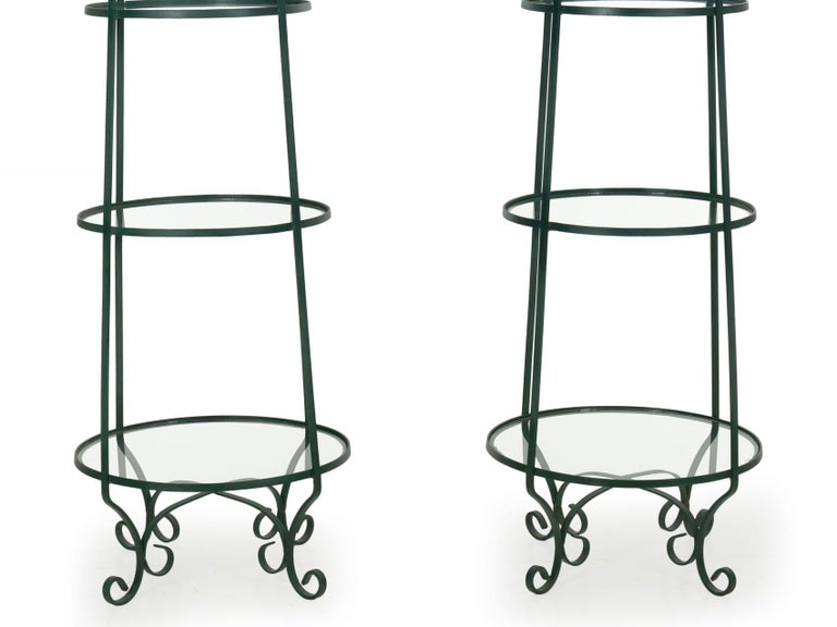 Metal Pair of Vintage Green Painted Iron Etageres Displays with Glass Shelves For Sale