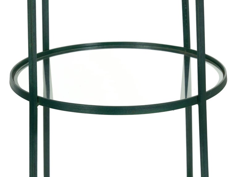 Pair of Vintage Green Painted Iron Etageres Displays with Glass Shelves For Sale 2