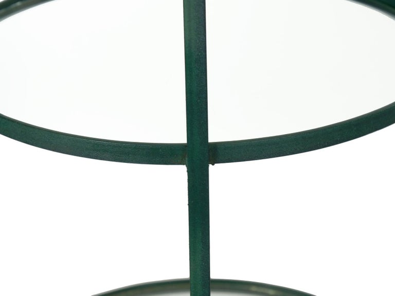 Pair of Vintage Green Painted Iron Etageres Displays with Glass Shelves For Sale 3