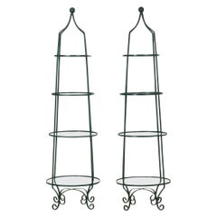 Pair of Vintage Green Painted Iron Etageres Displays with Glass Shelves