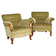Pair of Vintage Green Upolstered Arm Chairs from Sweden