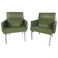Pair of Vintage Green Vinyl Lounge Chairs