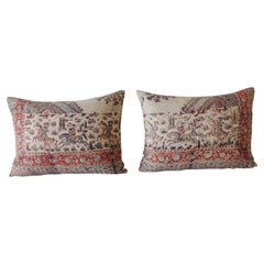 Pair of Vintage Hand-Blocked Kalamkari Bolster Decorative Pillows
