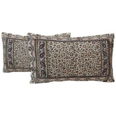 Pair of Vintage Hand-Blocked Kalamkari Lumbar Decorative Pillows