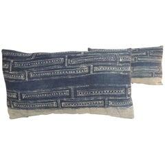 Pair of Vintage Hand Blocked White and Indigo Decorative Lumbar Pillows