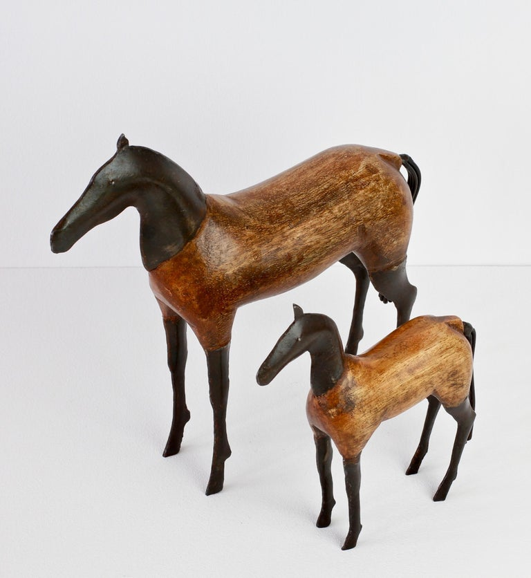 Pair of Vintage Hand-Carved Wooden and Metal Horse Sculptures, circa 1980s For Sale 6