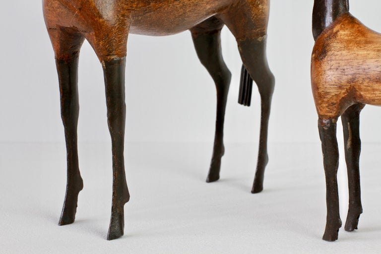 Pair of Vintage Hand-Carved Wooden and Metal Horse Sculptures, circa 1980s For Sale 9