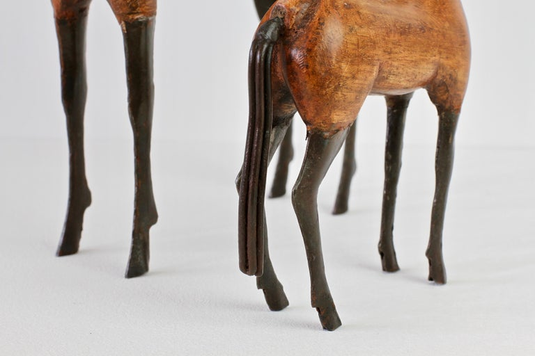 Pair of Vintage Hand-Carved Wooden and Metal Horse Sculptures, circa 1980s For Sale 10