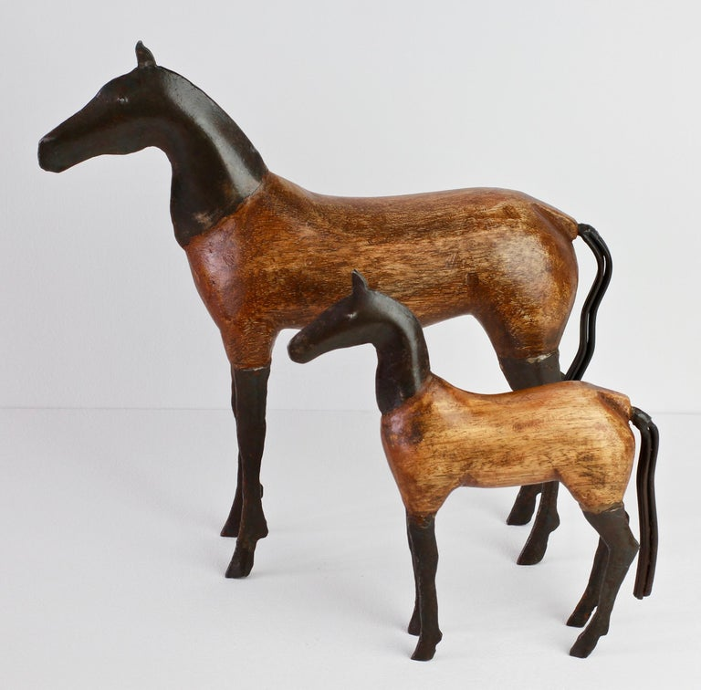 Scandinavian Modern Pair of Vintage Hand-Carved Wooden and Metal Horse Sculptures, circa 1980s For Sale
