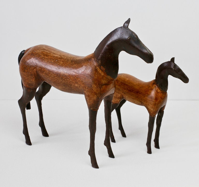 Late 20th Century Pair of Vintage Hand-Carved Wooden and Metal Horse Sculptures, circa 1980s For Sale