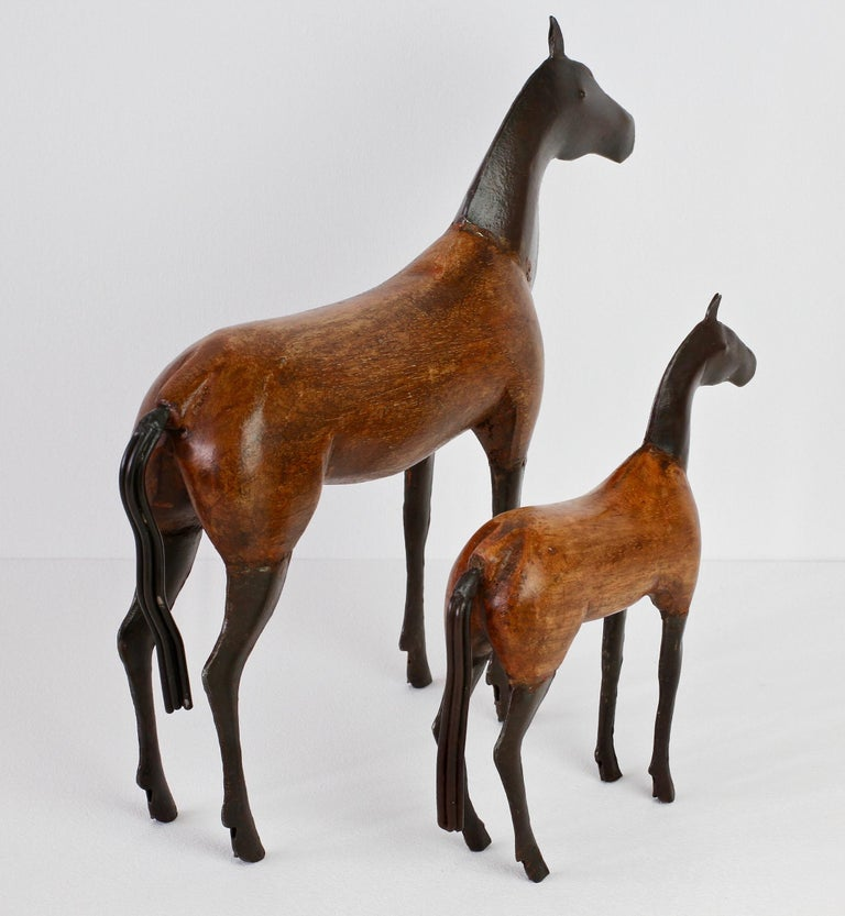 Pair of Vintage Hand-Carved Wooden and Metal Horse Sculptures, circa 1980s For Sale 2