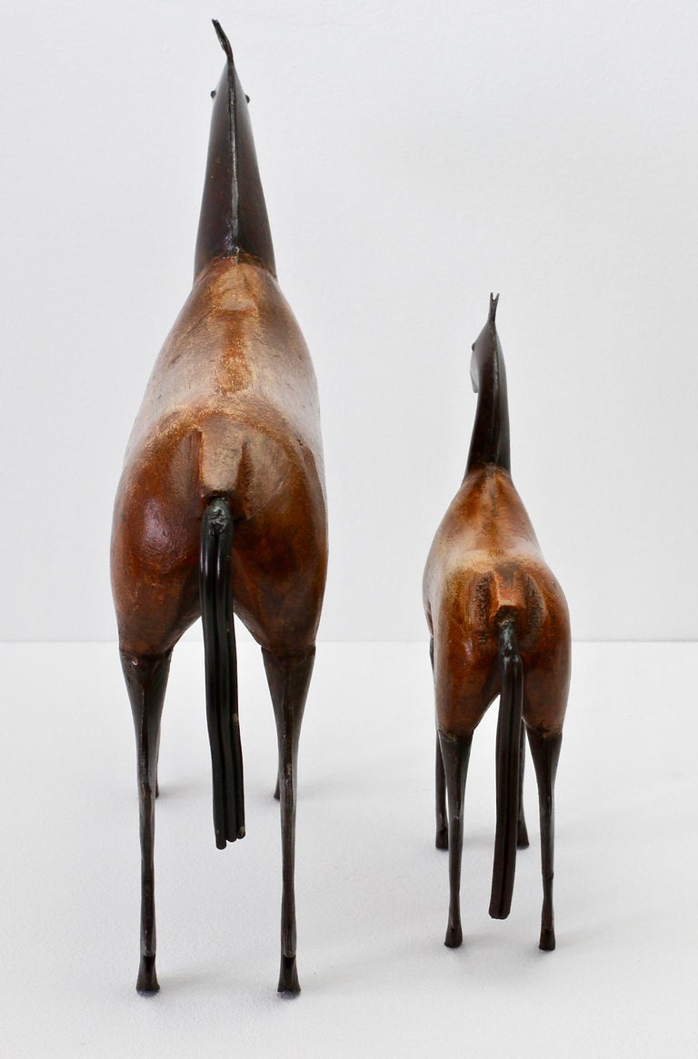 Pair of Vintage Hand-Carved Wooden and Metal Horse Sculptures, circa 1980s For Sale 3