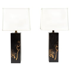 Pair of Vintage Hand Painted Black Metal Lamps from Japan