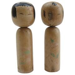 Pair of Vintage Hand Painted Japanese Kokeshi Dolls 1950s