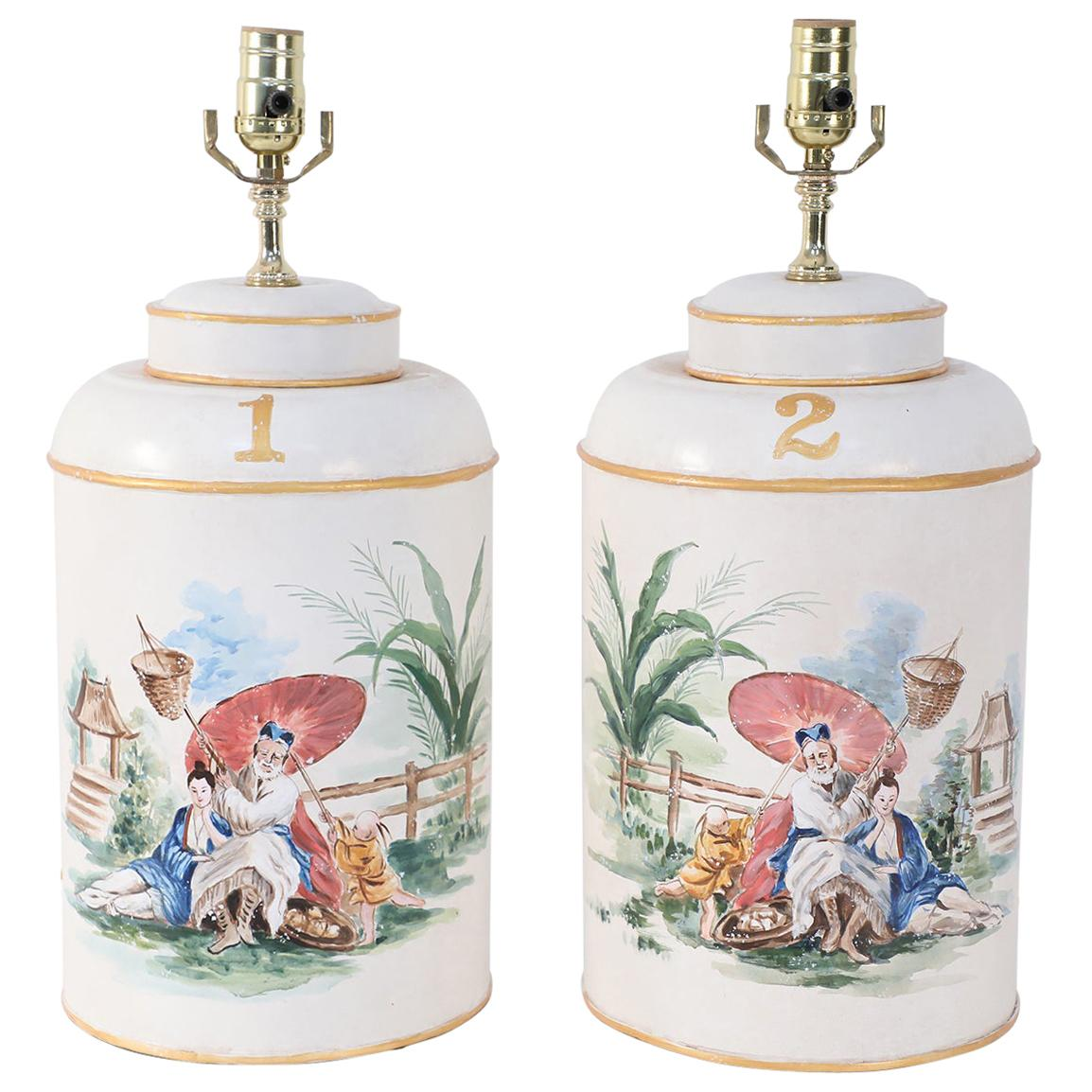 Pair of Vintage Hand Painted Tole Genre Scene Table Lamps