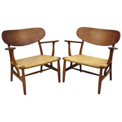 Pair of Vintage Hans Wegner CH22 Carl Hansen & Son Oak Lounge Chairs