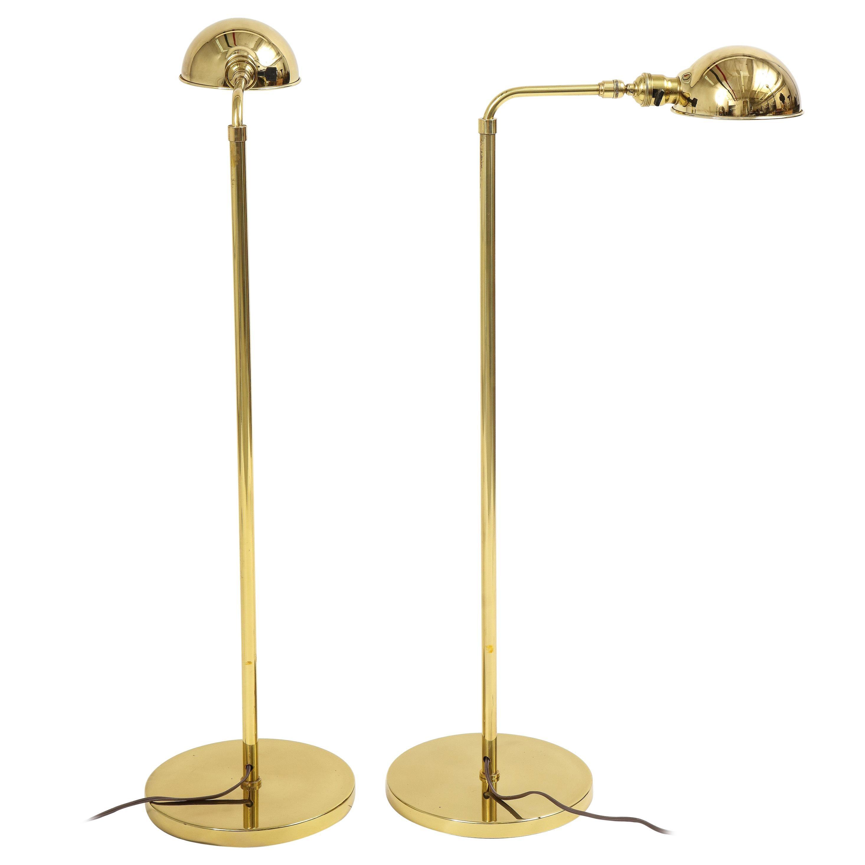 Pair of Vintage Hansen Brass Pharmacy Floor Lamps