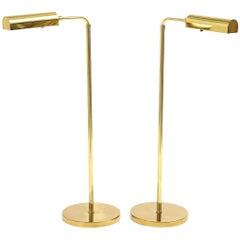 Pair of Vintage Hansen Brass Pharmacy Floor Lamps