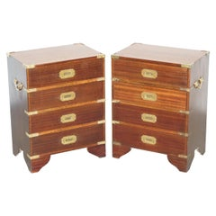 Pair of Vintage Harrods Kennedy Military Campaign Side Table Chests of Drawers