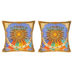Vintage Hermes Bright Blue and Gold Silk Fabric and Irish Linen Pillows