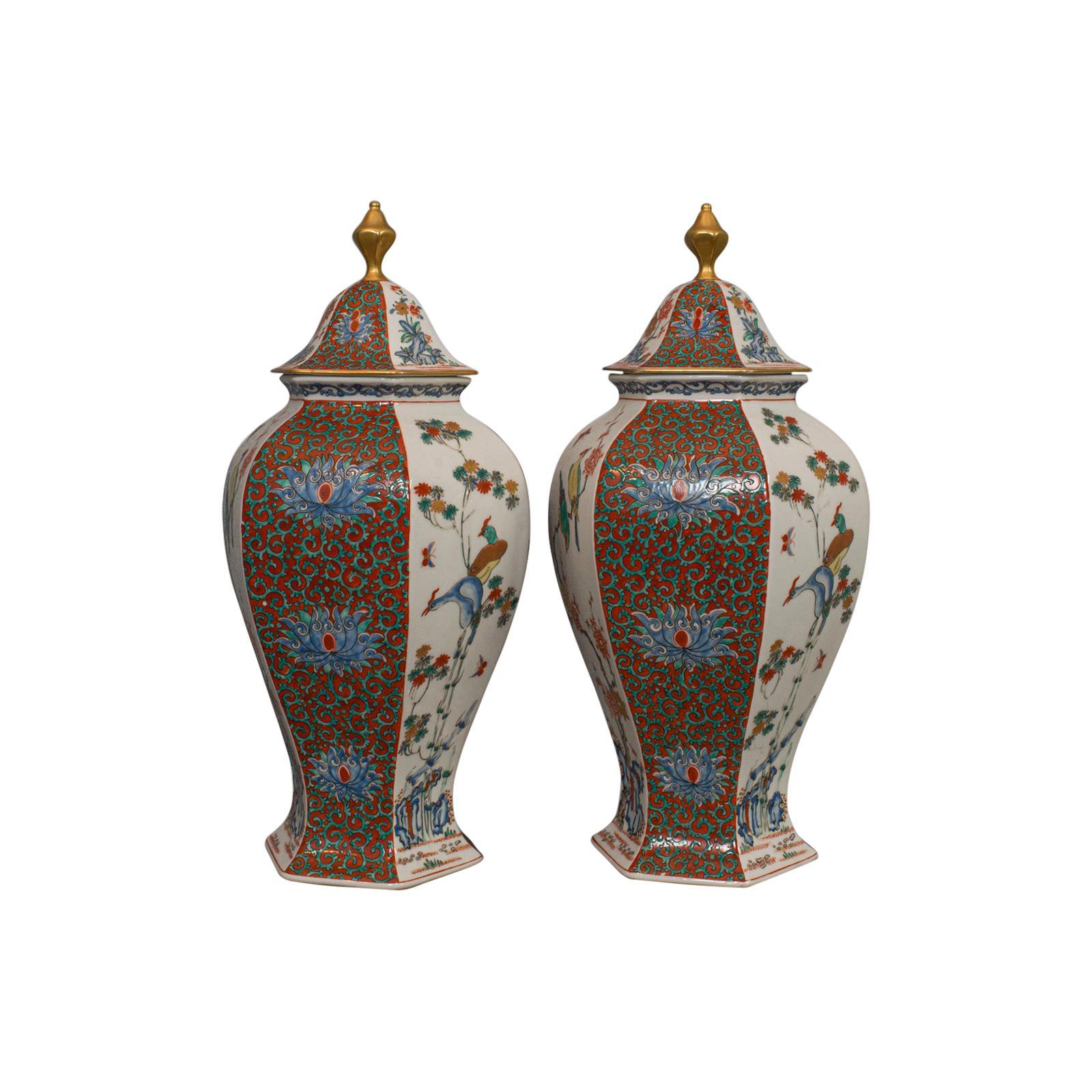 Pair of Vintage Hexagonal Spice Jars, Oriental, Ceramic, Baluster, Urn, Avian