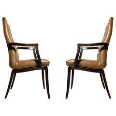 Pair of Vintage High Back Occasional Arm Chairs