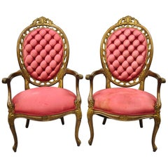 Pair of Vintage Hollywood Regency French Pierce Carved High Back Gold Armchairs