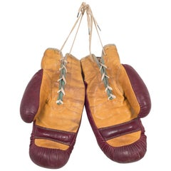 Pair of Vintage Horse Hair and Leather Boxing Gloves, circa 1930-1940