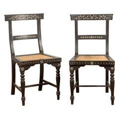 Pair of  Vintage Indian Black Stained Side Chairs with Mother of Pearl Inlay