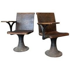 Pair of Vintage Industrial 1920s School Chairs