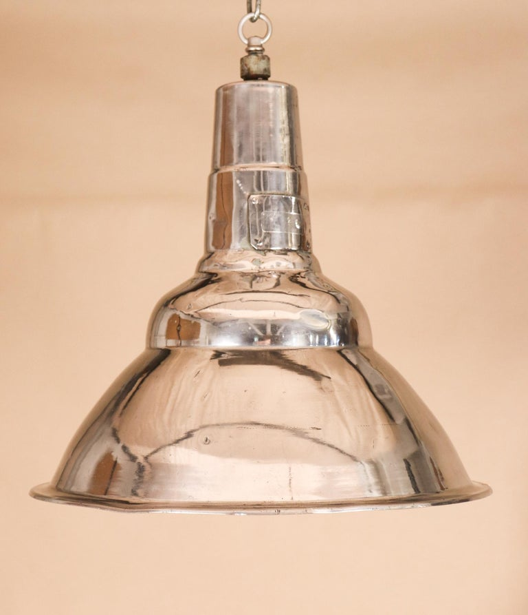 Pair of Vintage Industrial Aluminum Floodlight Pendants For Sale 6