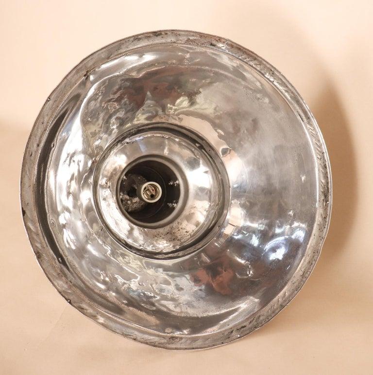 Pair of Vintage Industrial Aluminum Floodlight Pendants For Sale 9