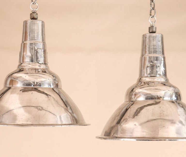 Pair of Vintage Industrial Aluminum Floodlight Pendants In Good Condition For Sale In Shelburne Falls, MA