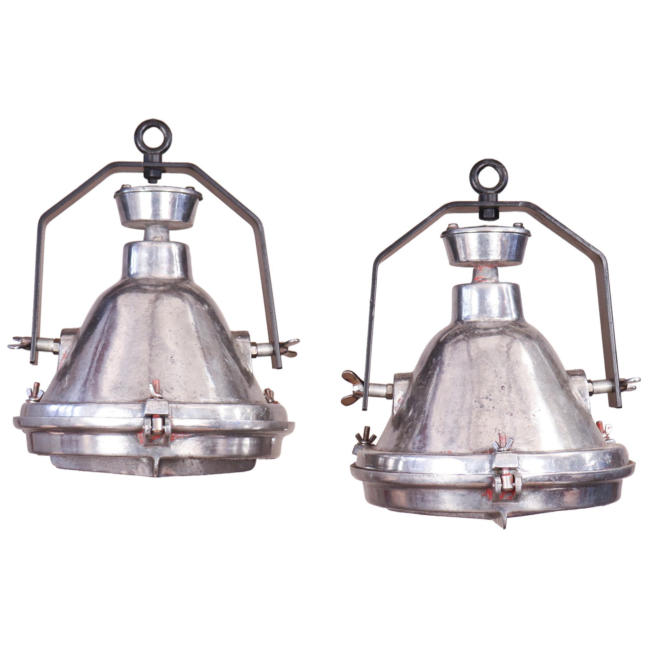 Pair of Vintage Industrial Aluminum Pendant Lights