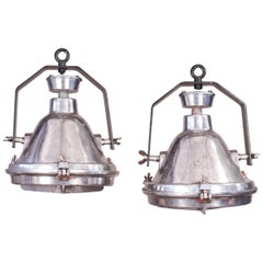 Pair of Vintage Industrial Aluminum Pendant Lights