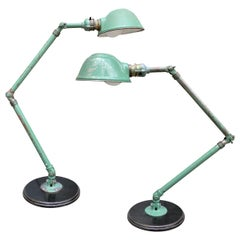 Pair of Vintage Industrial Articulated Table Lamps