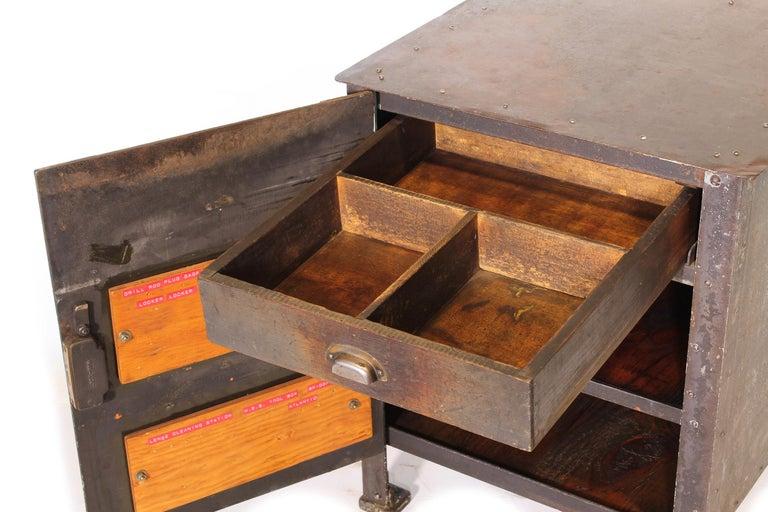 Pair of Vintage Industrial Bedside Tables / Nightstands For Sale 4