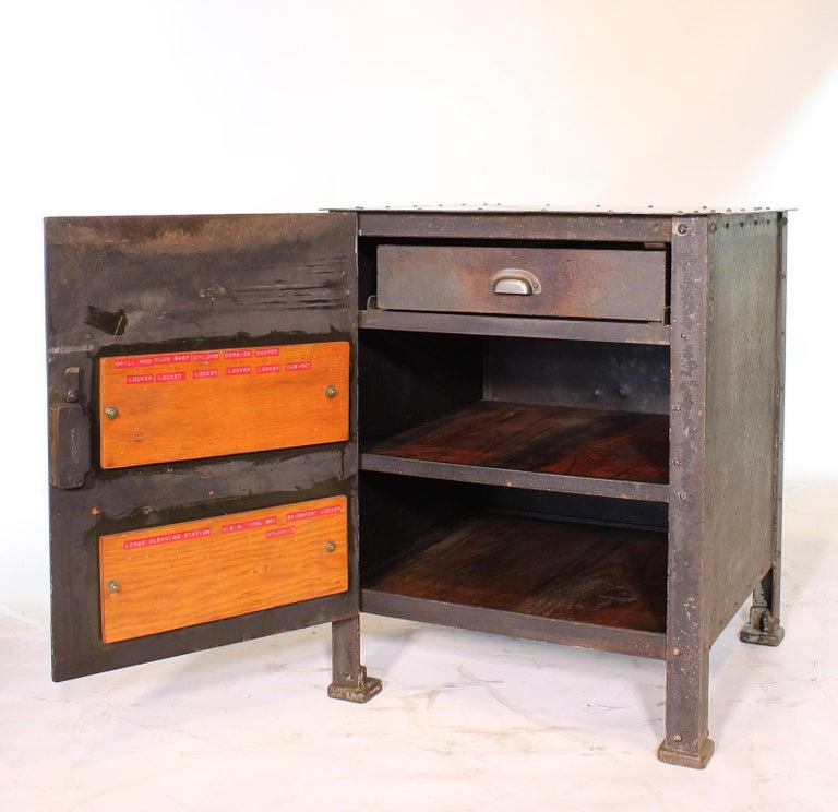 Pair of Vintage Industrial Bedside Tables / Nightstands For Sale 9