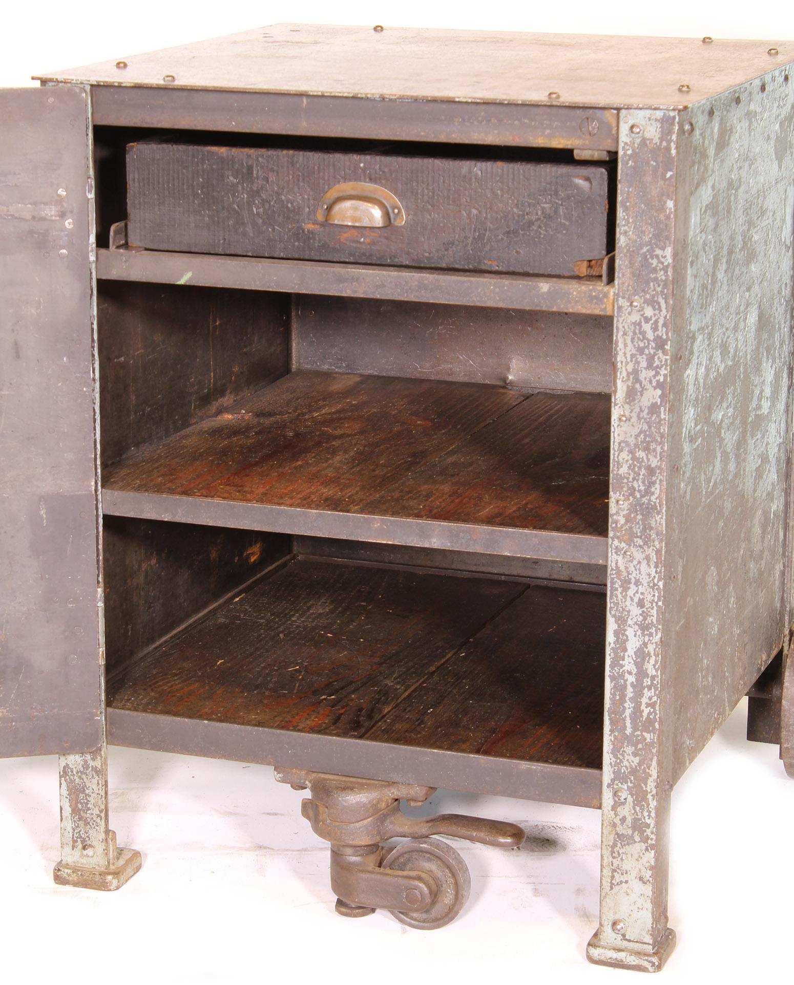 Pair Of Vintage Industrial Bedside Tables Nightstands