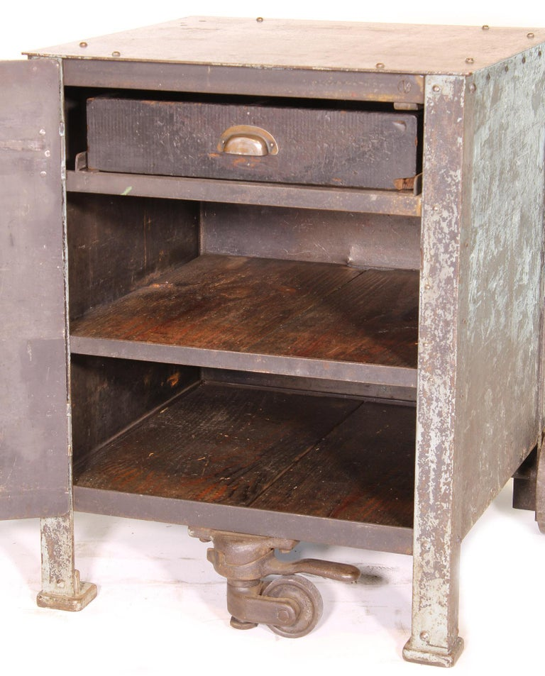 Pair of Vintage Industrial Bedside Tables / Nightstands For Sale 12